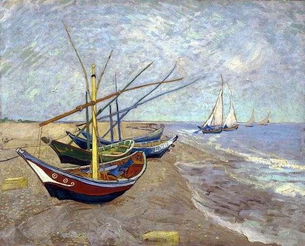 Sainte Marie   Vincent Van Goghのビーチで漁船