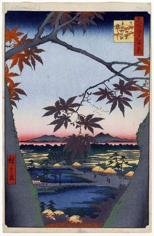 たこなの屋代神社のママと杉橋歌川広重橋の緋色のもみじ