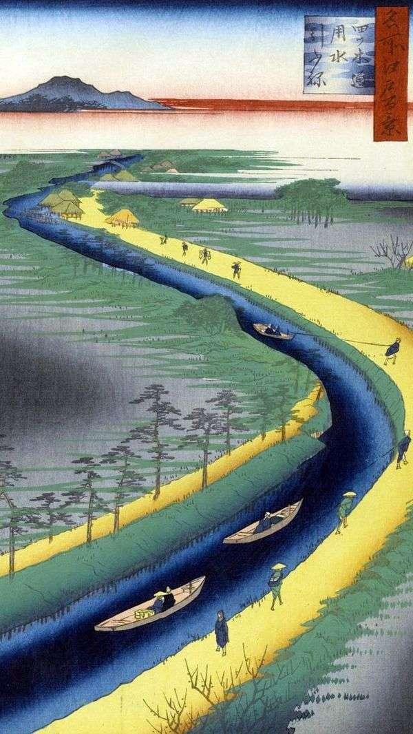 越後通運河の曳航船   歌川広重
