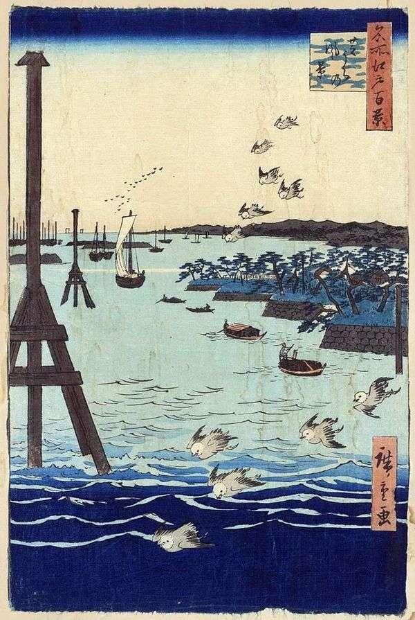 シバウラの入り江。絵画、グラフィック、日本のモチーフ、風景   歌川広重