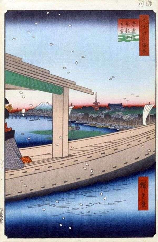 金竜山修道院とあずまばし橋の眺め   歌川広重