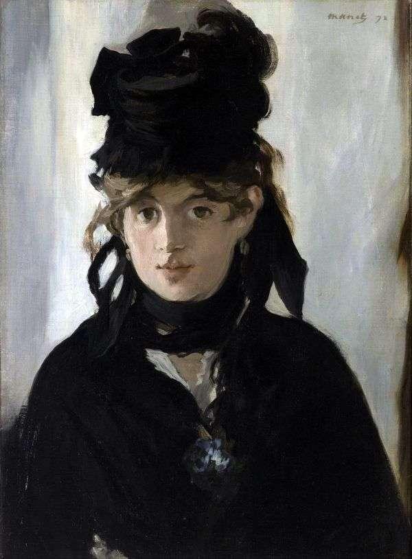 スミレの花束を持つBertha Morisot   エドゥアールマネ