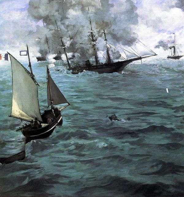 Kirsedgeと Alabamaの戦い   Edouard Manet