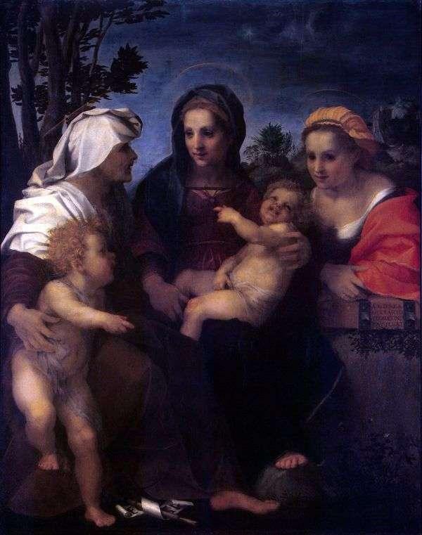 マドンナと子、聖人キャサリン、エリザベスと洗礼者ヨハネ   アンドレア・デル・サルト