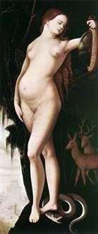 慎重さ(鏡と蛇を持つ女性)   Hans Baldung