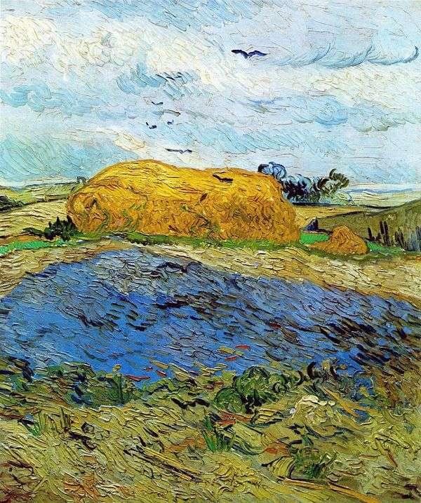 雨の空の下で干し草の山   Vincent Van Gogh
