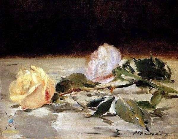 ベッドカバーに2本のバラ   Edouard Manet