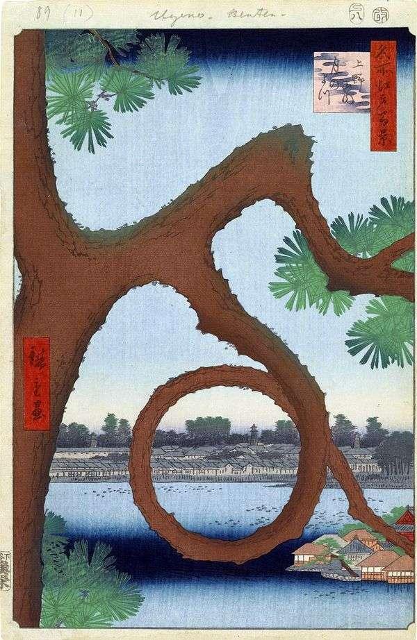 上野の修道院の領土に照らされた月明かりの松   歌川広重