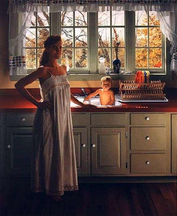 台所でナニーとエズラ   スコットプライアー