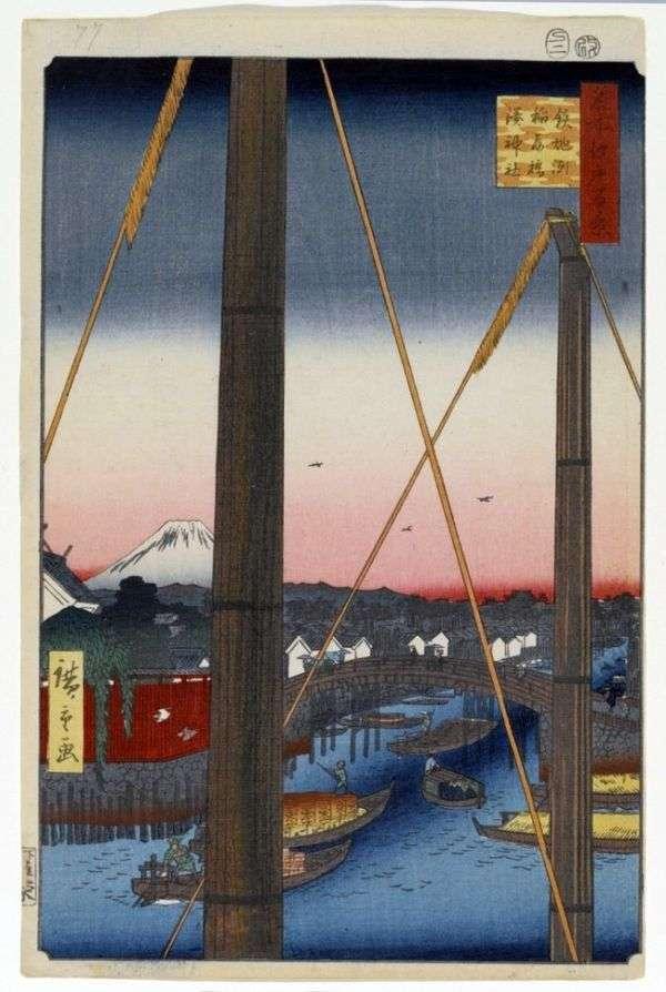 港区神社サンクチュアリ、天保堂の稲荷橋   歌川広重