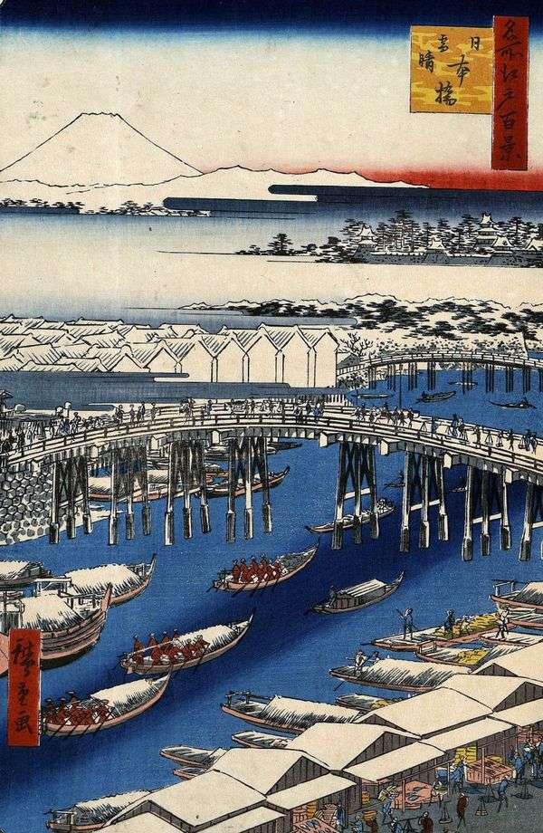 雪が降った後も晴天の日本橋   歌川広重