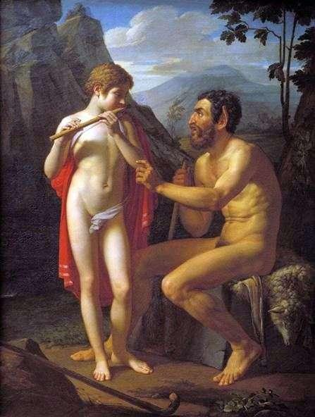 Faun Marsyusは若い男オリンピアにフルートを弾くように教えます   Peter Basin