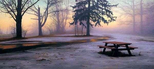 冬のピクニック用のテーブル   スコットプライアー