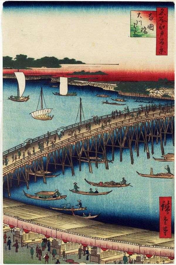 レゴバシ橋とオカババタ堤防   歌川広重