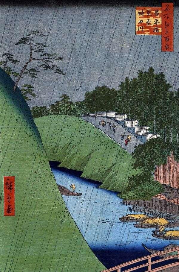 聖平橋、孔子廟、神田川の川   歌川広重