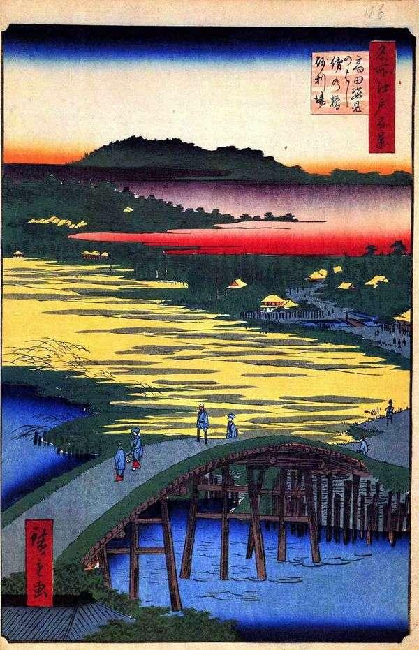 Sugatamihashi Bridge、Omo Kagehashi Bridge、Dzyriba   歌川広重村