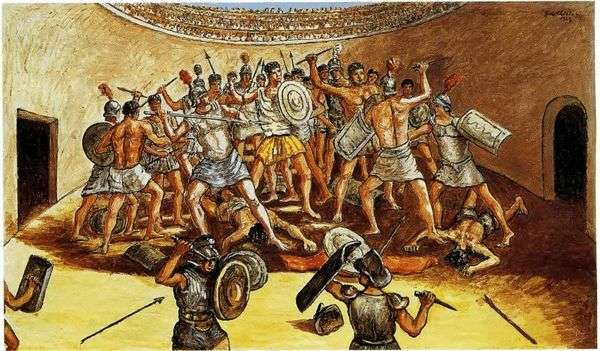 アリーナでの剣闘士の戦い   Giorgio de Chirico