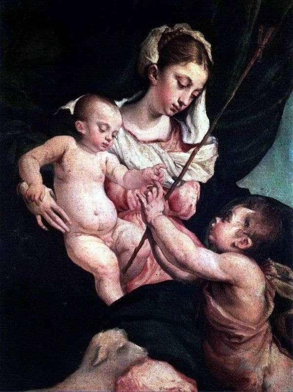 洗礼者ヨハネと聖母子   Jacopo Bassano