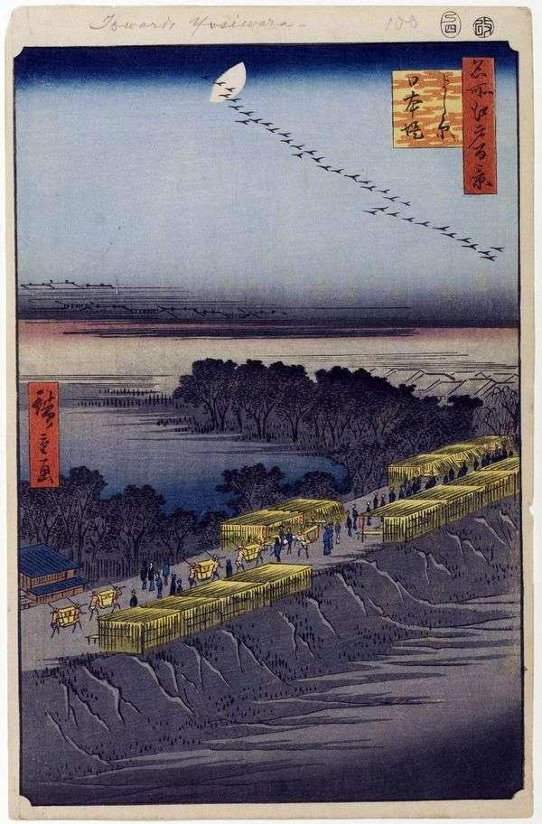 日本の堤防、エスシバラ地区   歌川広重