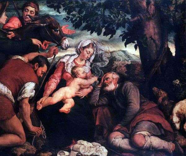 エジプトへのフライトで休む   Jacopo Bassano