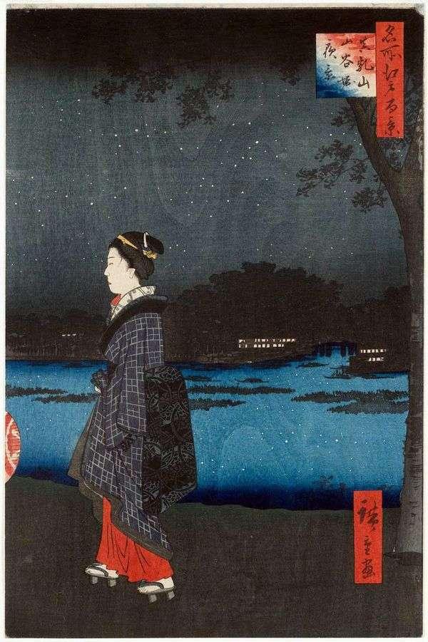 松山と三波堀運河の夜景