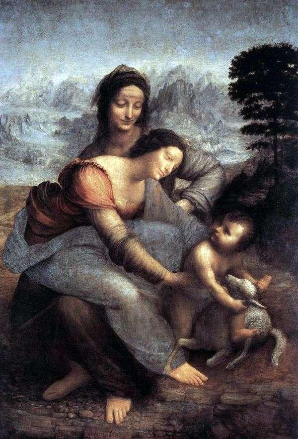 聖なるアナとマリアと赤ん坊のキリスト   レオナルドダヴィンチ