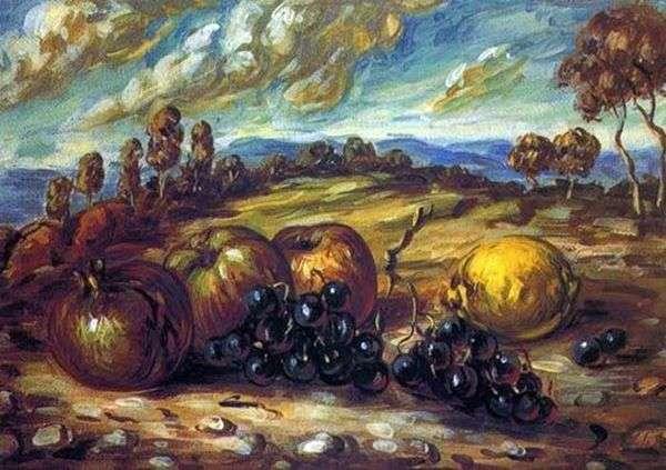 風景の中の果物   ジョルジョ・デ・キリコ
