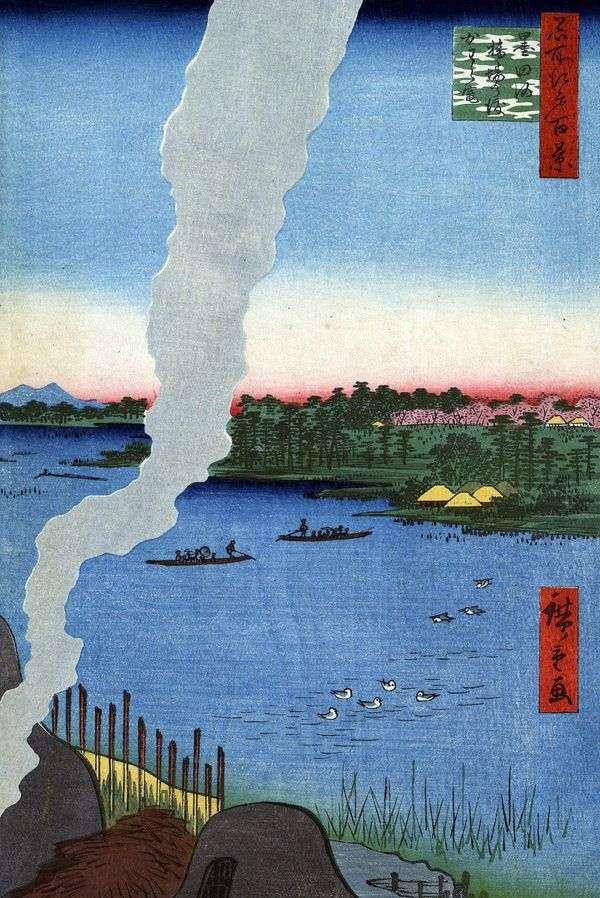 隅田川のハシバノバタシフェリーで焼く窯   歌川広重