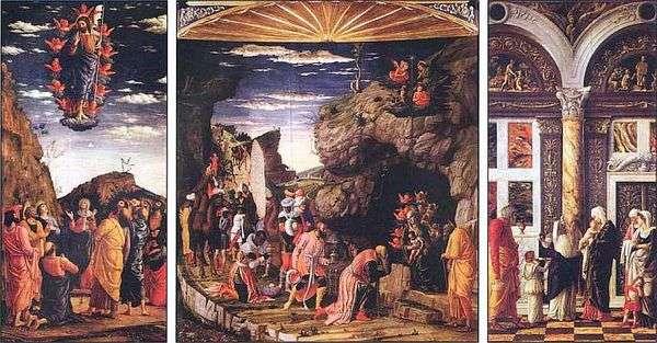 マギの崇拝を伴うトリプティク   Andrea Mantegna