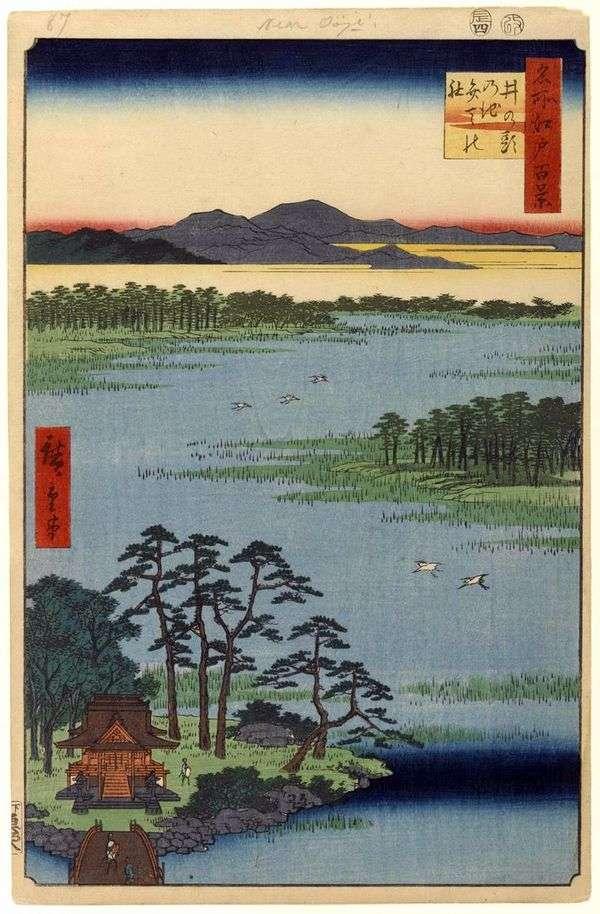 井の頭の池の弁天神社   歌川広重