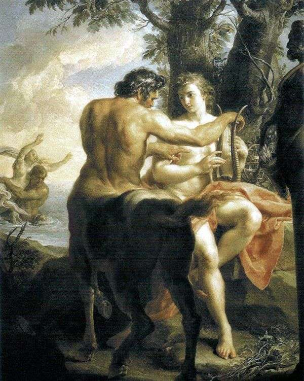 Centaur Chironがアキレスを教えている   Pompeo Batoni