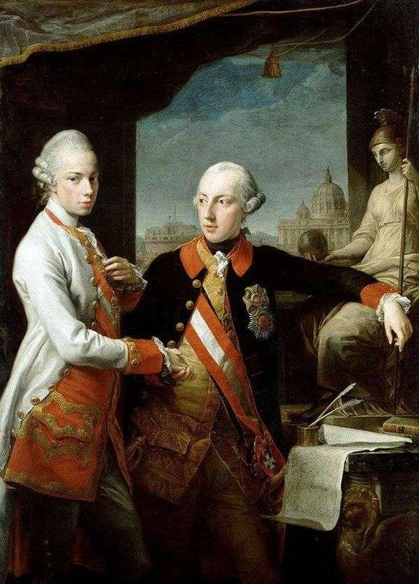 皇帝ジョセフ2世の肖像とトスカーナのレオポルド   ポンピオバトニ