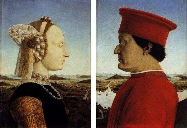 Federigo da Montefeltroと彼の配偶者Battista Sforza   Francesca Piero