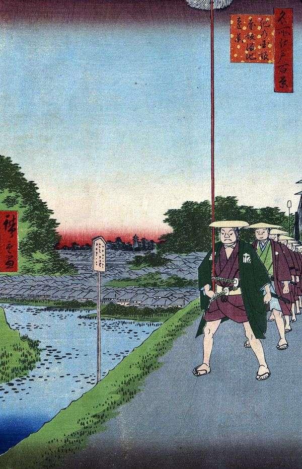 木坂坂斜面と赤坂の田池池の遠景   歌川広重