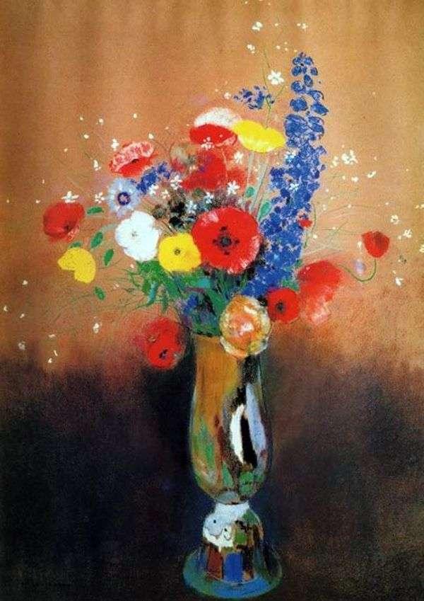 高花瓶の野生の花   オディロンルドン