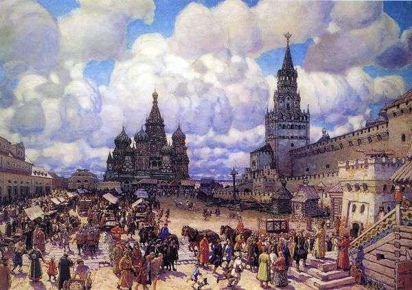 XVII世紀の後半にある赤の広場   Apollinary Vasnetsov