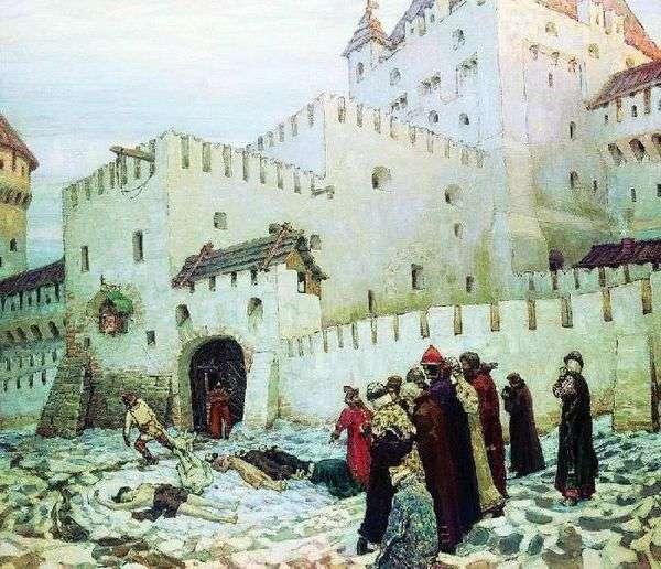 モスクワ拷問室 16世紀の終わり(16世紀と18世紀の変わり目のモスクワの拷問室のコンスタンチーノ   エレニンスキー門)   Vasnetsov
