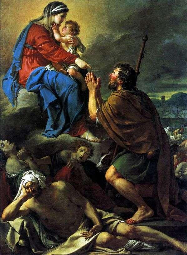 聖者Roch、悩みの種の癒しのために聖母に祈る   Jacques Louis David