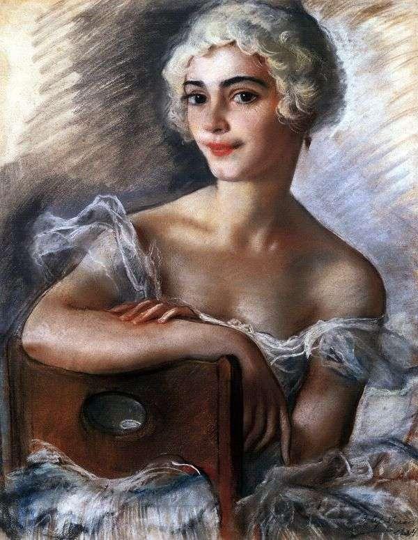 白いかつらの中でE. N. Heidenreichの肖像   Zinaida Serebryakova