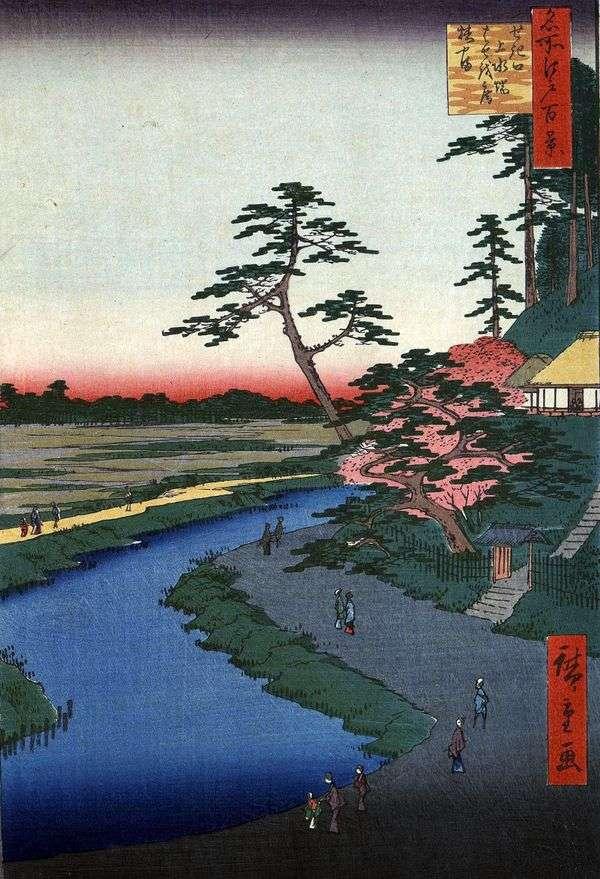 Sekiguti   Utagawa Hiroshige地区の水道近くの椿山にある小屋「Basean」