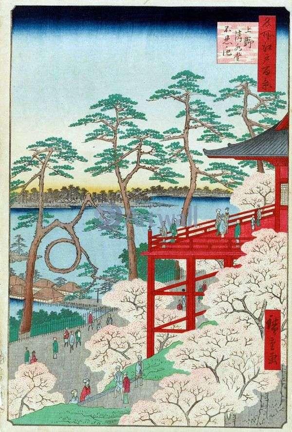 上野の清水堂とシノバッズのいけ池   歌川広重