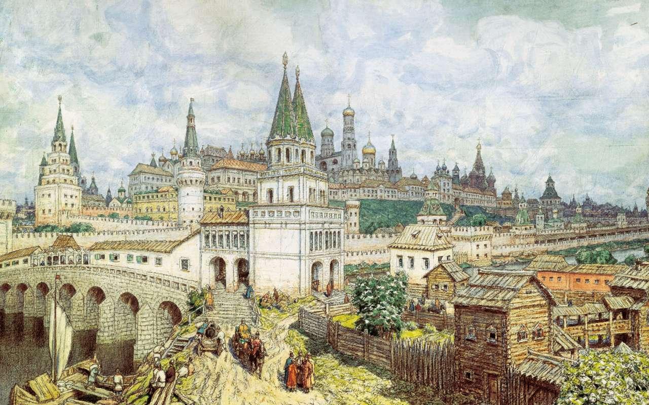 クレムリンの全盛期。17世紀末のオールセインツ橋とクレムリン   Apollinary Vasnetsov