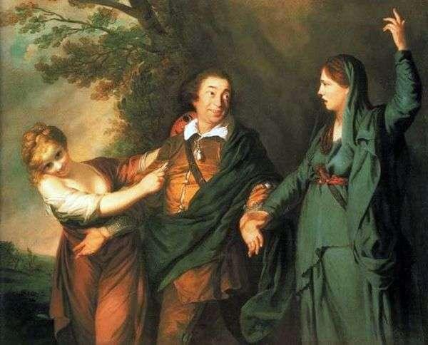 悲劇と喜劇のミューズ間のギャリック   Joshua Reynolds