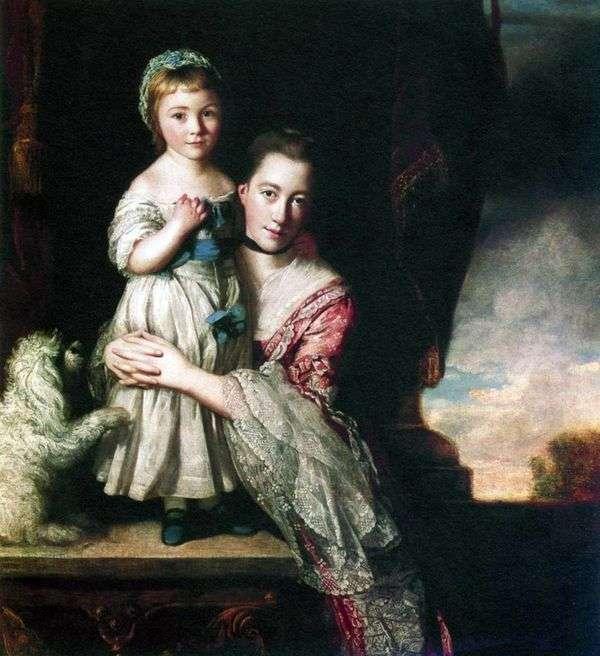 ジョージアナ、スペンサー伯爵夫人、娘と   ジョシュア・レイノルズ