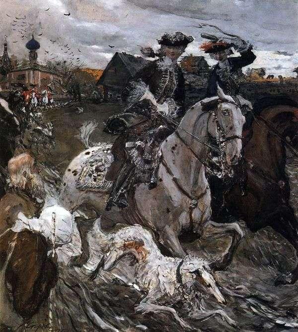 皇帝ピーター2世とTzarerevnaエリザベスPetrovna狩りに出発   Valentin Serov