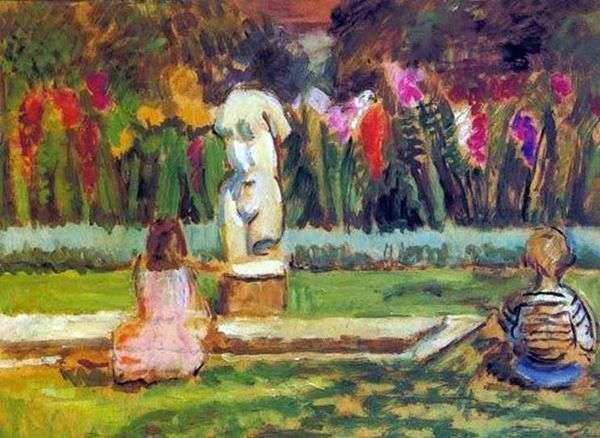 チャールストン   ヴァネッサベルの庭の池でヘンリエッタとジュリアン