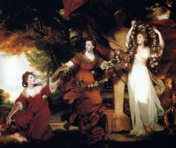 花で飾られた、Hymenの像を飾る、モンゴメリーの3人の姉妹   ジョシュア・レイノルズ