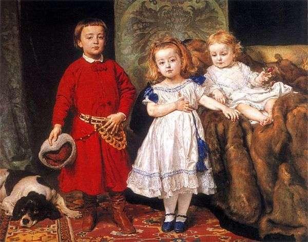 アーティストの3人の子供の肖像   Jan Aloizy Mateiko