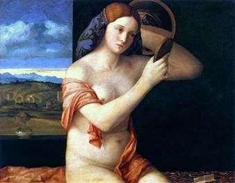 トイレの後ろの若い女性   Giovanni Bellini
