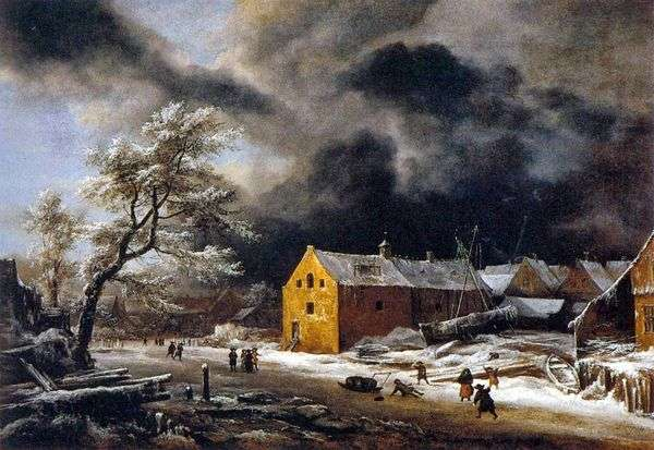 冬の夜   Jacob van Ruysdal